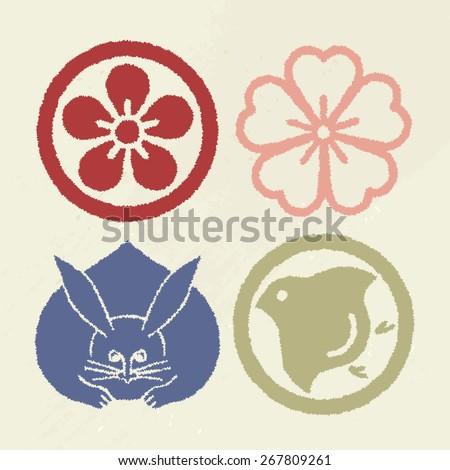 Mon Japanese Emblem Pop color Vector symbol Stamp like version