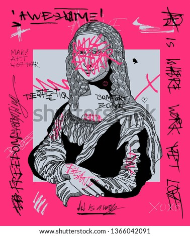 Mona Lisa - Gioconda. Creative modern pink calligraphy poster. T-Shirt Design & Printing, clothes, bags, posters, invitations, cards, leaflets etc. Vector illustration hand drawn.