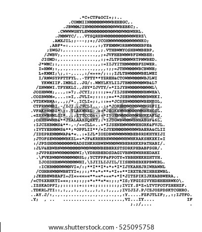 Mona Lisa stylized portrait ASCII art original version. Code. Vector illustration.