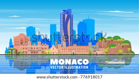 monaco city skyline with...