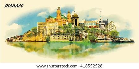 monaco city water color