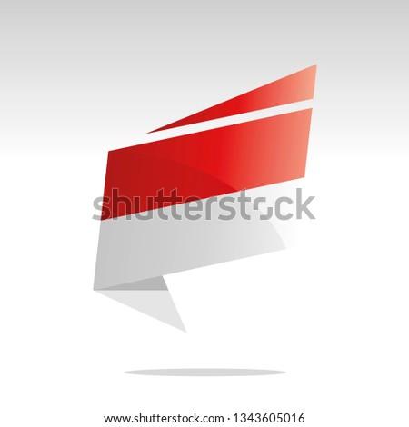 Monaco flag New abstract origami logo icon button label vector