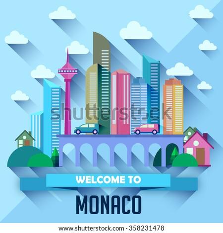 monaco   flat design city