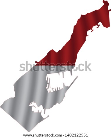 monaco map with rippled flag on