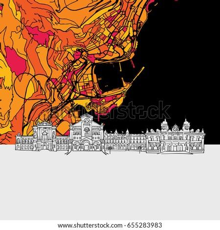monaco  skyline map  modern