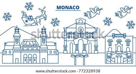 monaco winter city skyline