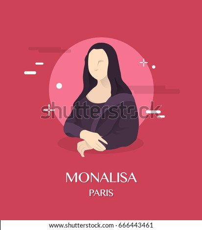 Monalisa illustration in Paris background