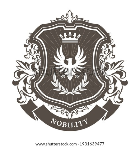 Monarchy coat of arms - heraldic royal emblem shield with crown and laurel wreath Сток-фото ©