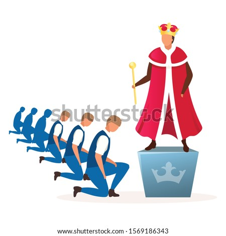 Monarchy political system metaphor flat vector illustration. Form of government, regime. Power of king, queen, emperor cartoon characters. Hereditary reign. Royal family dictatorship Сток-фото ©