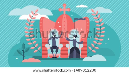 Monarchy vector illustration. Flat tiny government authority persons concept. National form of leadership power. King and queen royal throne and traditional crown symbol. Aristocracy hierarchy system. Сток-фото ©