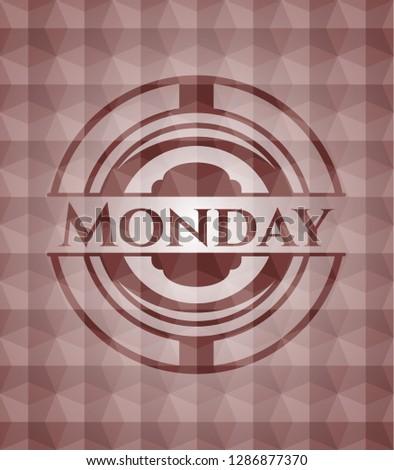 Monday red seamless geometric emblem.