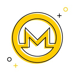monero cryptocurrency thin line icon in yellow circle on white background. trendy financial flat vector illustration easy to edit and customize. eps 10