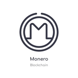 monero outline icon. isolated line vector illustration from blockchain collection. editable thin stroke monero icon on white background