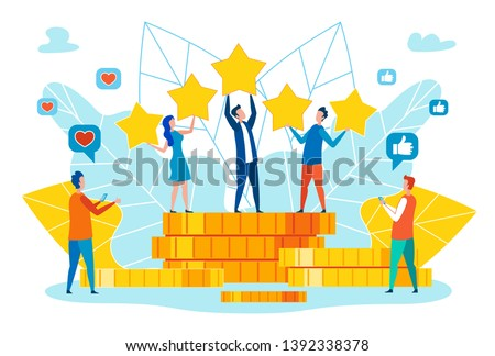 Monetization of Popularity in Social Network, Celebrating Company Financial Success Flat Vector Concept with Happy Business Team People Standing on Money, Proud of High Customers Rating Illustration