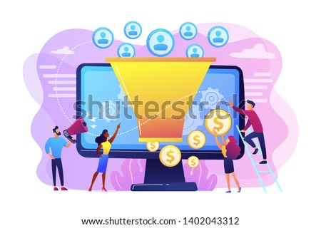 Monetization tips. Increasing conversion rates strategy. Attracting followers. Generating new leads, identify your customers, SMM strategies concept. Bright vibrant violet vector isolated illustration