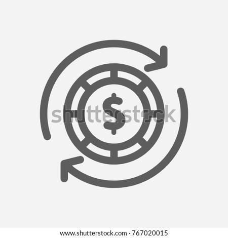 Money abundance icon line symbol. Isolated vector illustration of dollar exchange sign money abundance icon concept for your web site mobile app logo UI design.