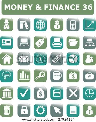 money & finance 36 icon set - stock vector