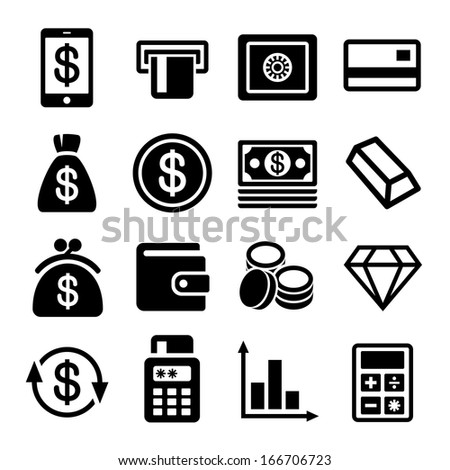 Money and bank icon set