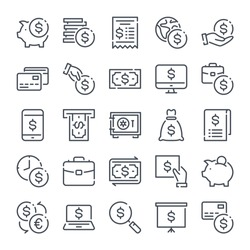 Money and bank related line icon set. Cash and Banking linear icons. Finance and payment outline vector sign collection.