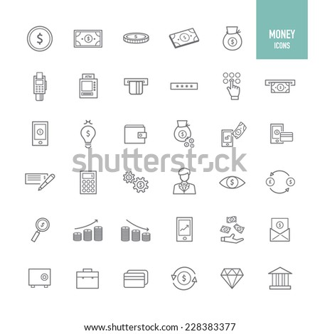 Money and banking icons. Vector illustration. #228383377