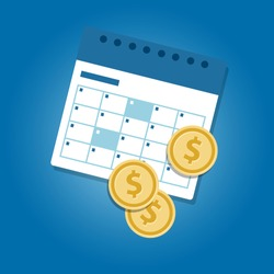 Money and calendar coins dollar concept of investing monthly or payment salary day bill deadline