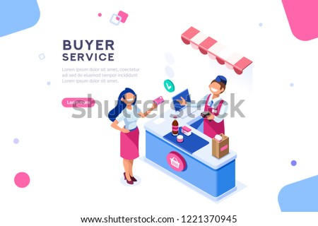 Money and cashier. Flat image with buyer for banner. Infographic of purchase, customer shopper on web cashbox. Commerce, seller on retail for woman customers, concept with characters. Isometric vector