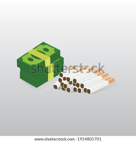 money and cigarettes vector