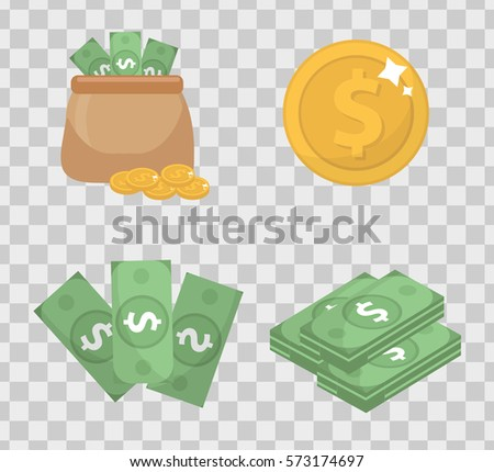 Money and coin set  icons flat style, isolated on transparent background. Vector illustration