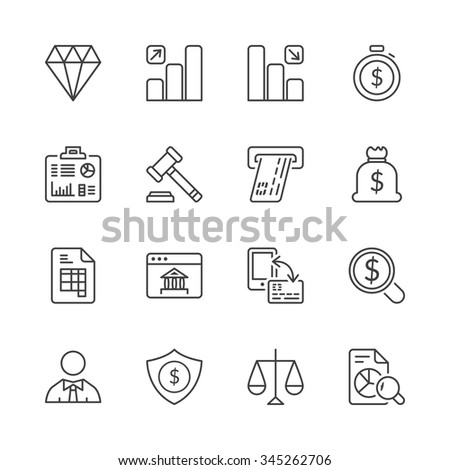 money and finance icons set thin line isolated
