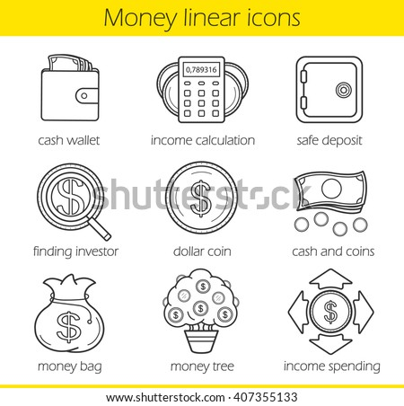 Money and finance linear icons set. Wallet, income calculation, bank safe deposit. Cash bag, income spending, dollar coin, finding investor symbol, money-tree. Thin line. Isolated vector illustrations