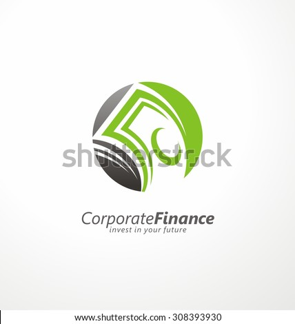 Money and finance logo design layout. Creative symbol template for banking or investment business. Circle with banknotes in negative space.