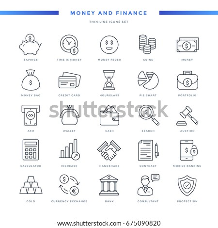 Money and Finance Thin Line Icons Set #675090820