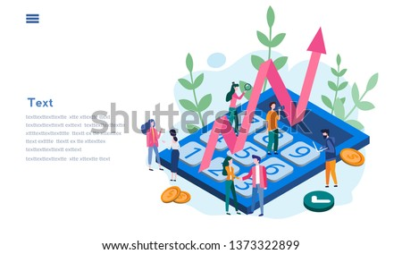 Money and financial management concept, Payroll. Expenses, salary calculation. Vector illustration for websites, printed materials.  Income,  payout with calculator, income growth.