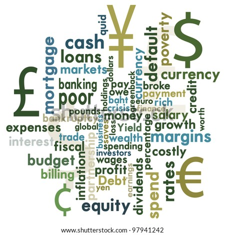 Money and financial word graphic