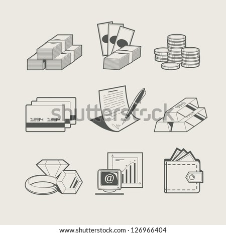 money and jewellery set of icon. Vector Illustration.