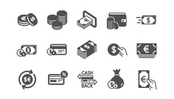 Money and payment icons. Cash, Wallet and Coins. Account cashback classic icon set. Quality set. Vector