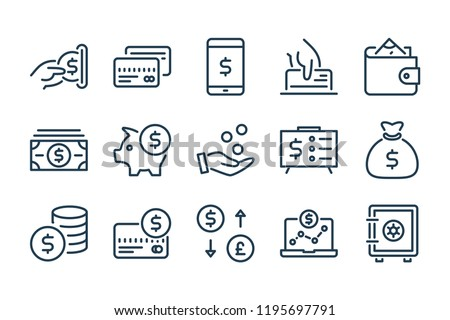 Money and payment line icons. Dollar and Cash vector linear icon set. Сток-фото ©