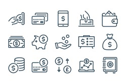 Money and payment line icons. Vector linear icon set.