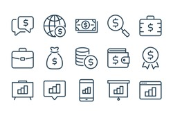 Money and Payment related line icons. Business and Finance vector linear icon set.