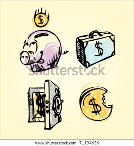 money and sale pig safe dollar box. Cartoon style icons with  Doodle style - stock vector