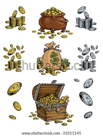 Money and Treasure Cartoon style