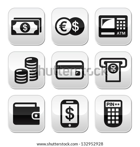 Money, atm - cash mashine vector buttons set - stock vector