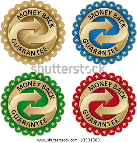 Money Back Guarantee labels Set with gold arrows and stars