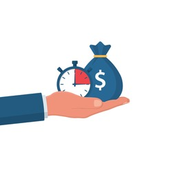 Money bag and stopwatch in a man's hand. Quick loan. Timely payment, financial decision. Quick money. Loan in the short term. Business and finance. Vector illustration flat design.