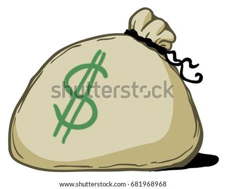 money bag cartoon color drawing