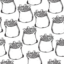 money bag. Illustration. Pattern. Seamless pattern. Engraving.