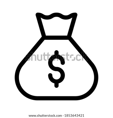 Money bag line icon, linear pictogram isolated on white background. Vector Illustration