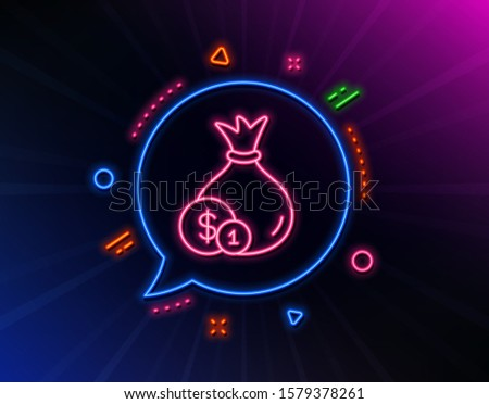 Money bag with Coins line icon. Neon laser lights. Cash Banking currency sign. Dollar or USD symbol. Glow laser speech bubble. Neon lights chat bubble. Banner badge with cash icon. Vector