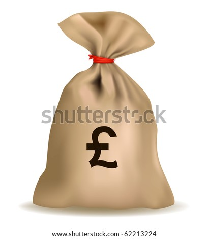 Money bag with pound. Vector.