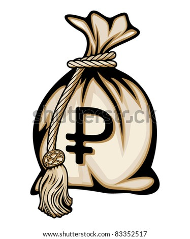 Money bag with ruble sign vector illustration